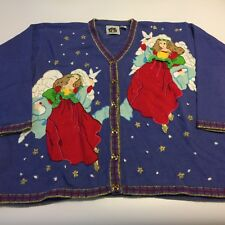 """Storybook Knits Ugly Christmas Cardigan Blue Sweater Womens 3X Angels 60"""""""
