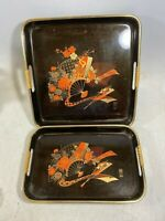 (2) JAPANESE ANTIQUE LACQUER WARE / DISPLAY SERVING TRAY / BLACK W/ JAPANESE FAN