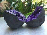"""3"""" Purple Geode Pair Crystal Geode Quartz Druze Gem Specimen Morocco Geode Dyed"""