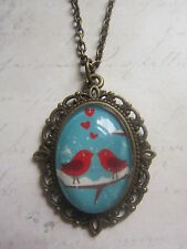 Handmade Vintage Bronze Red Love Birds Birdhouse Glass Dome Cameo Necklace New