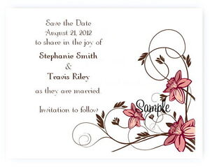 100 Personalized Custom Brown Floral Bridal Wedding Save The Date Cards