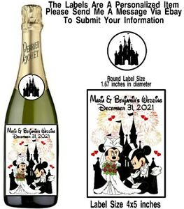 12 Disney Mickey Minnie Mouse Wedding Day Wine Champagne Bottle Labels Stickers