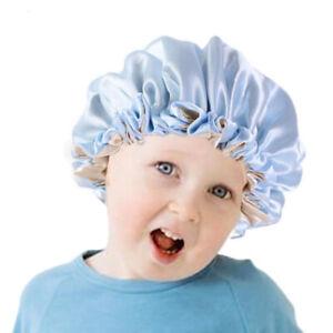 Adjustable Double Layer Elastic Night Hats Hair Cap Satin Bonnet Baby Sleep Cap