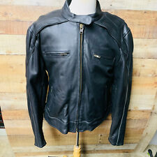 3XL Womans Leather Motorcycle Jacket  Reflective Piping Vented Gun Pocket #1574