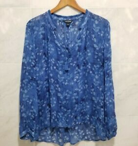 Lucky Brand Sheer Peasant Boho Blouse Blue Floral Tassel Large