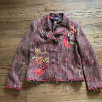 VINTAGE Harris Wallace Pink blazer Jacket Floral Tweed Fringe Edges Size 12