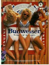 1989 Print Ad Budweiser beer advertisement girls on beach 80's