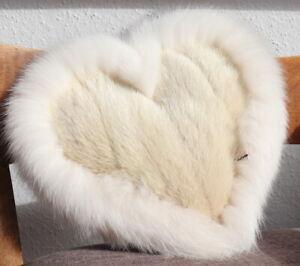 Nerz Herz Kissen Pelz Shadowfuchs Polar Liebe Deko Couch Fuchs Fell Nude Weiß