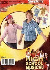 Disney High Scool Musical Simplicity Girls'/Boys' Shirt&CapPattern 2836 8-16 UNC