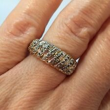 14k Yellow Gold Sterling Silver 925 Diamond Wedding Pave Estate Band Ring 7 1/4