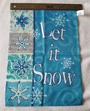 Snowflake Winter Let It Snow Mini Garden Flag Blue/White