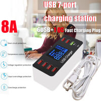 40W QC Desktop Fast Charging Station Quick Charge7 USB Ports Charger For