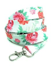 Spirius ROSES IN WHITE  Lanyard neck strap for key id badge holder phone key 1