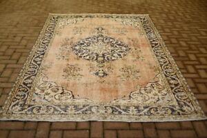 Oushak Hand Knotted Wool Carpet Medallion Design Vintage Turkish Area Rug 6x9 ft