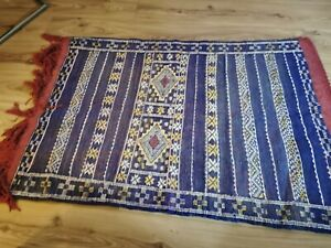 Blue Moroccan Kilim Rug Woollen New Handmade