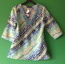 ~BNWT~GEORGE~MULTICOLOUR PATTERN V NECK~3/4 LENGTH SLEEVE LINEN TOP~SIZE 10~