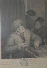 antique gravure de J. BEAUVARLET d'après jeu de tric trac Van Ostade XVIII ème