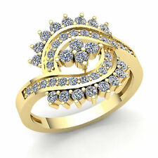 Fancy Right Hand Ring 10K Gold Genuine 1ct Round Cut Diamond Womens Bridal