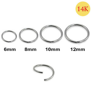 Nose Ring 14K Carat Genuine White Gold Earring Lip Piercing Hoop 20g 6mm