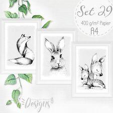 Monochromer Kunstdruck Waldtiere Reh Fuchs Tiere Baby Kinderzimmer Bilder |SET29