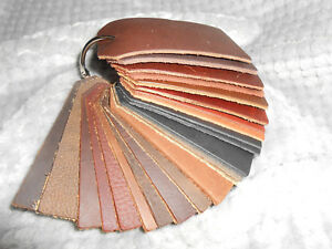 (1) Extra Nice Oil Tanned Swatch Ring with 22 sample pieces, between 3.5 to 5.5