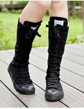 Knee High Lace Boots Black Goth Eno Grunge Alternative Metal Punk Festival Hippy