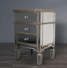 Silver Trimmed Antiqued Venetian 3 Drawer Glass Bedside Cabinet