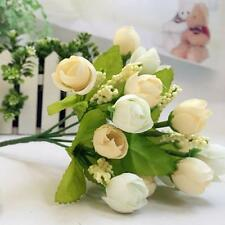 15 Heads Artificial Rose Silk Fake Flower Leaf Home Decor Bridal Bouque Yellow