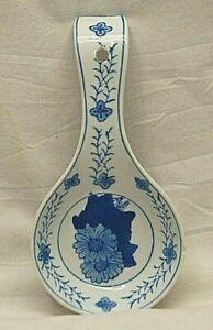 Knobler Porcelain China Spoon Rest Cobalt Blue Floral Designs Kitchen Wall Art