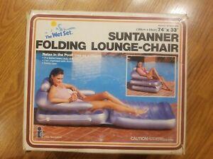 Vintage Intex 1983 The Wet Set Suntanner Folding Lounge-Chair Pool Float 74 X 33