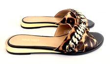 NINE WEST Leder Gr 37.5 Gold Chain Leopard Print Sandale Flache Sandalen