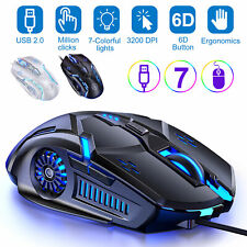 Gaming Mice Mouse 3200 Dpi Rgb Backlit Light Usb Wired 6 Buttons for Pc Laptop