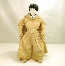 "VINTAGE CHINA HEAD DOLL..LOW BROW..MUSLIN BODY..17"" TALL Clothes are Fantastic"