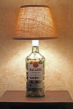 Bacardi Superior White Rum Bottle Table Top Desk Accent Lamp Handmade Tall Glass
