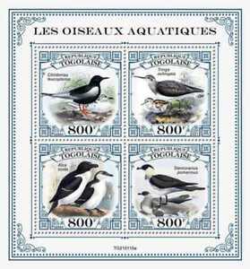Togo - 2021 Water Birds, Green Sandpiper, Razorbill - 4 Stamp Sheet - TG210115a