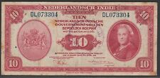 Netherlands New Guinea 10 gulden 1943 w/ Notary v.d. Goot stamp, F+, Pick 114