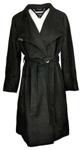 Dennis Basso Women's Plus Sz 18W Wool Blend Coat Envelope Collar Black A367846