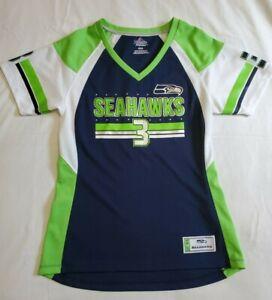 Majestic Fan Fashion fitted V Neck jersey shirt Seattle Seahawks Wilson #3 Wmn M