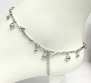 18k Solid White Gold Ball Charms Italy Anklets ,9.5 To 10.5 Inches, 5.88 grams