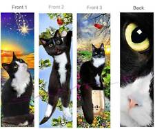 3set-TUXEDO CAT BOOKMARK Black & White Kitten Animal Book Mark ART Card Figurine