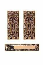Potted flower bronze passage pocket door set eastlake