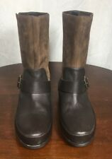 Fitflop Women Genuine Leather Flat Slip-On Mid-Top Boots W Buckle Brown Size 7.5