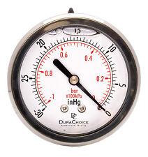 """2-1/2"""" Oil Filled Vacuum Pressure Gauge - SS/Br 1/4"""" NPT Center Back -30HG/0"""