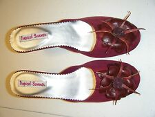 WOMENS TROPICAL SUMMER SLIDES SIZE 9 BURGUNDY FABRIC NEW