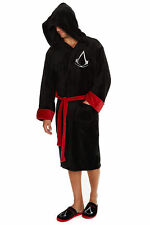 Adult Assassins Creed Black Hooded Soft Fleece Bathrobe Dressing Gown
