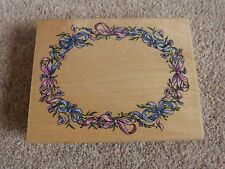 Large Stampendous Wooden Backed Oval Ribbon Frame Stamp