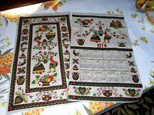 New listing Vintage Tea Towel Calendar Parisian Prints Set of 2 Pennsylvania Dutch folk art