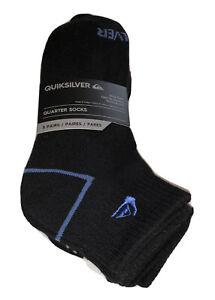 Quicksilver Quarter Socks 5 Pair Men 6-12 Black w/ Blue White Red Logo Surf Ride