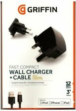 Griffin PowerBlock 2.4Amp 12W UK & EU Fast Wall Charger + Lightning Cable Black