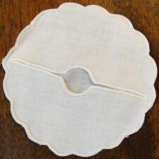 100% Irish Linen Wine Glass Slipper or Coaster Scalloped Edge Set of 12